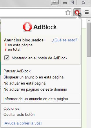 Menú de Adblock Plus, seleccionar la alternativa No funcionar en páginas de este dominio